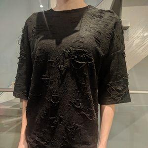 Ripped Black Short Sleeve Top